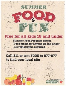 Summer Food call 211 or text Food to 877-877