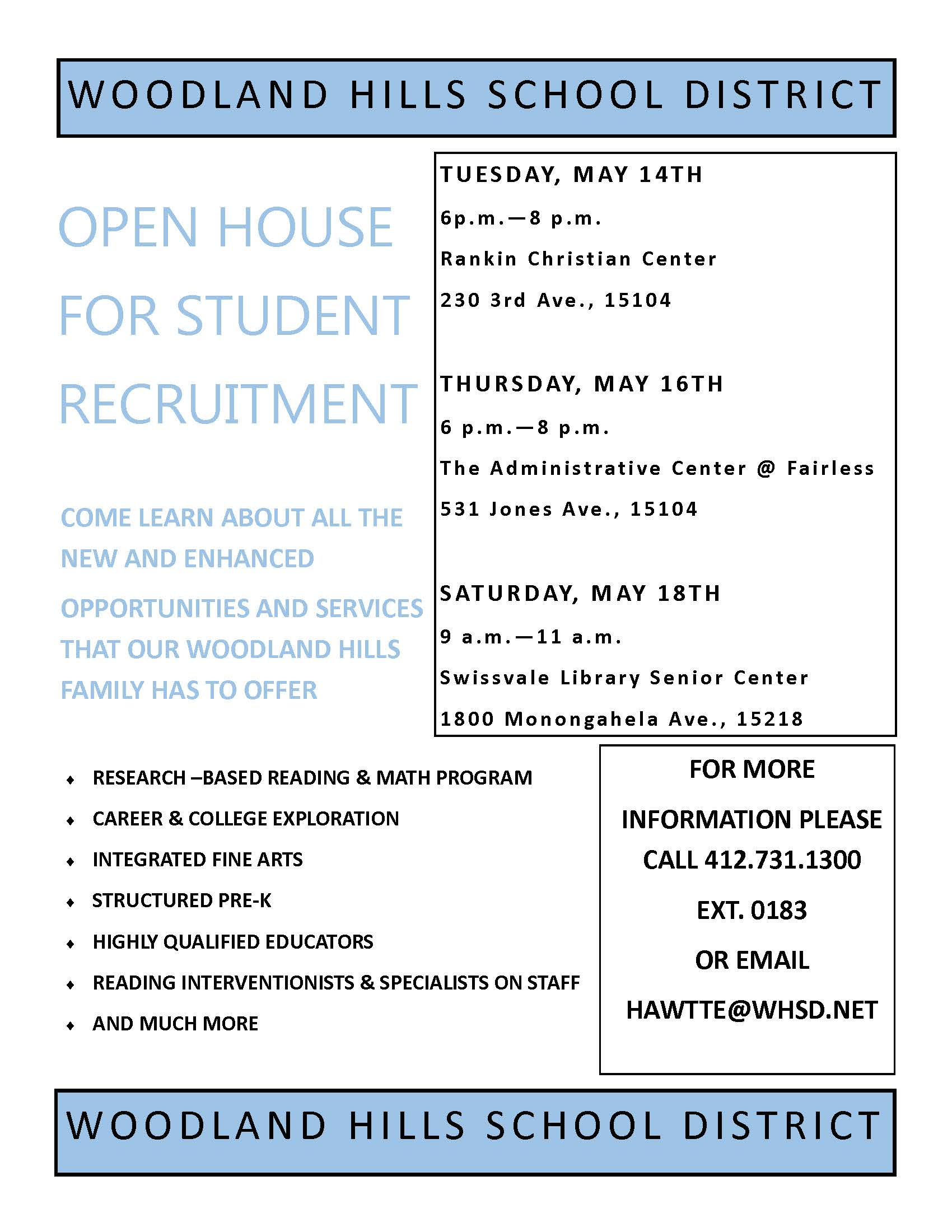 OPEN HOUSE FOR STUDENT RECRUITMENT