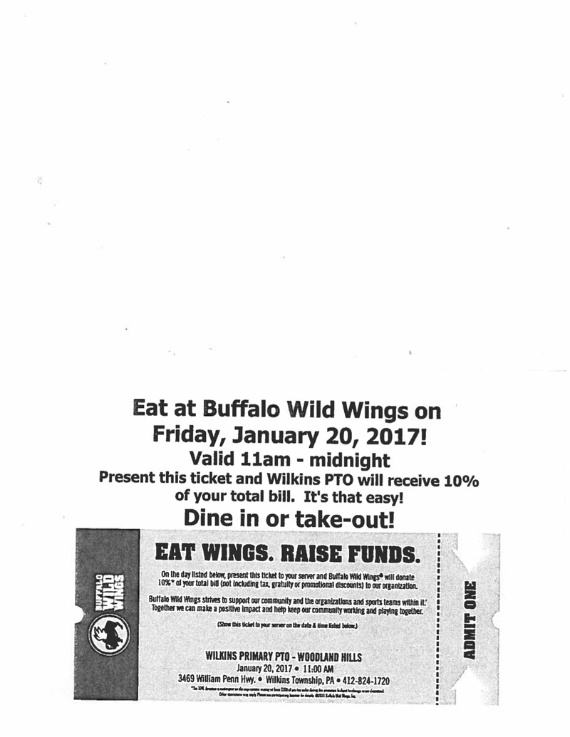 Support the Wilkins PTO at Buffalo Wild Wings - Wilkins Primary School